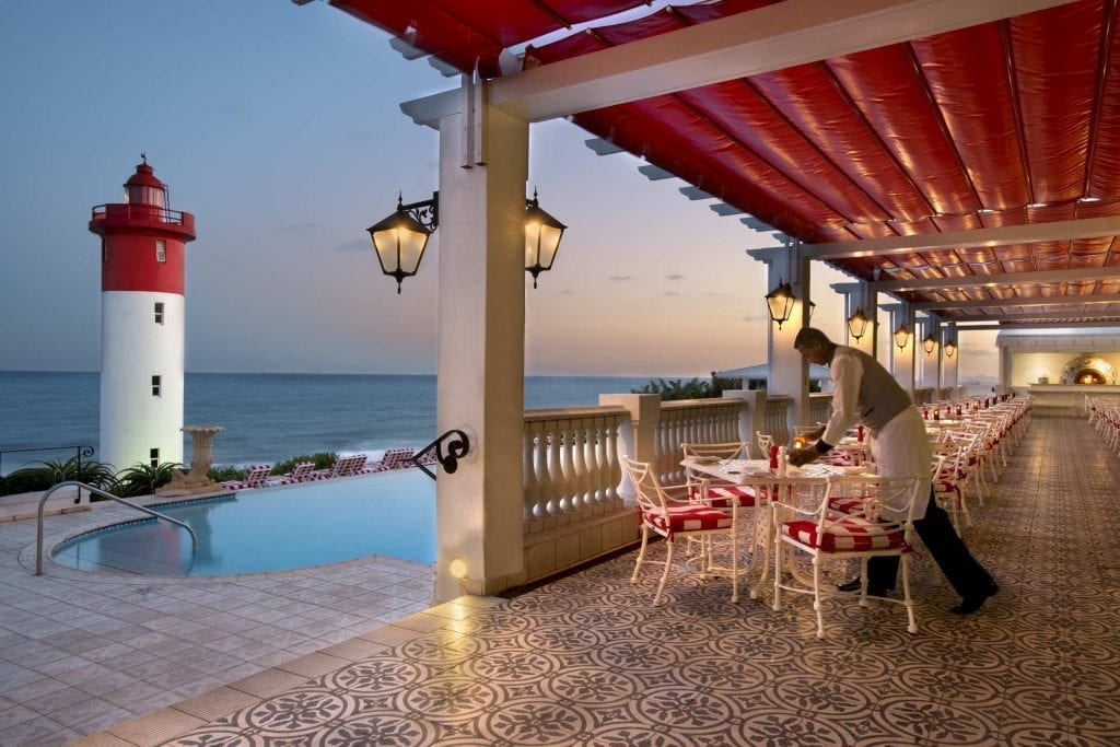 Oyster Box patio view with Umhlanga Lighthouse and sea view
